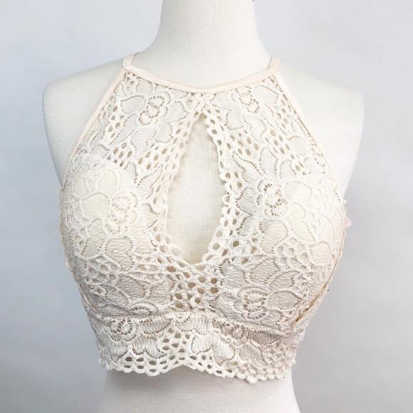 Other - 🌈 blush high neck keyhole lace bra bralette L